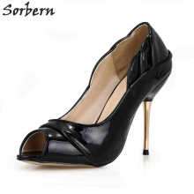 Sorbern Black Heels Shoes Woman Gold Metal High Heel 12Cm Stilettos Ladies Pumps Ol Shoes Custom Red Bottom High Heels 2018 New