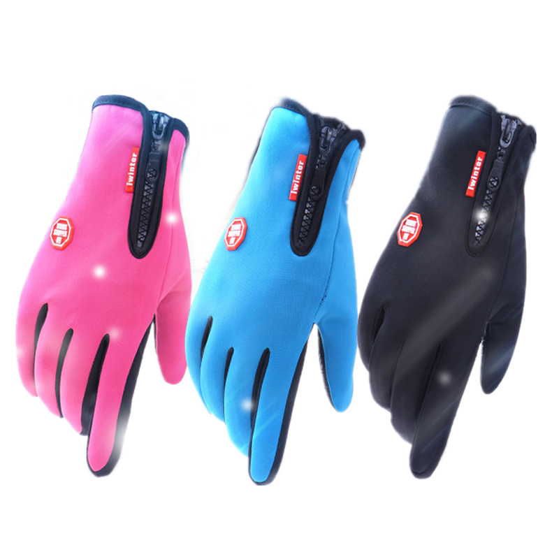 Thicker Waterproof Touch Screen Gloves Windproof Riding Men Zipper Movement Winter Warm Fleece Skiing Gloves For Your Phone