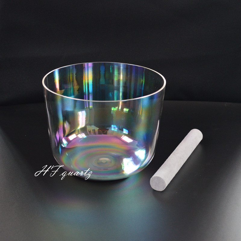 HF New Cosmic Light Chakra Clear Quartz Crystal Singing Bowl 6'' E F D D# Note Free Mallet And O ring
