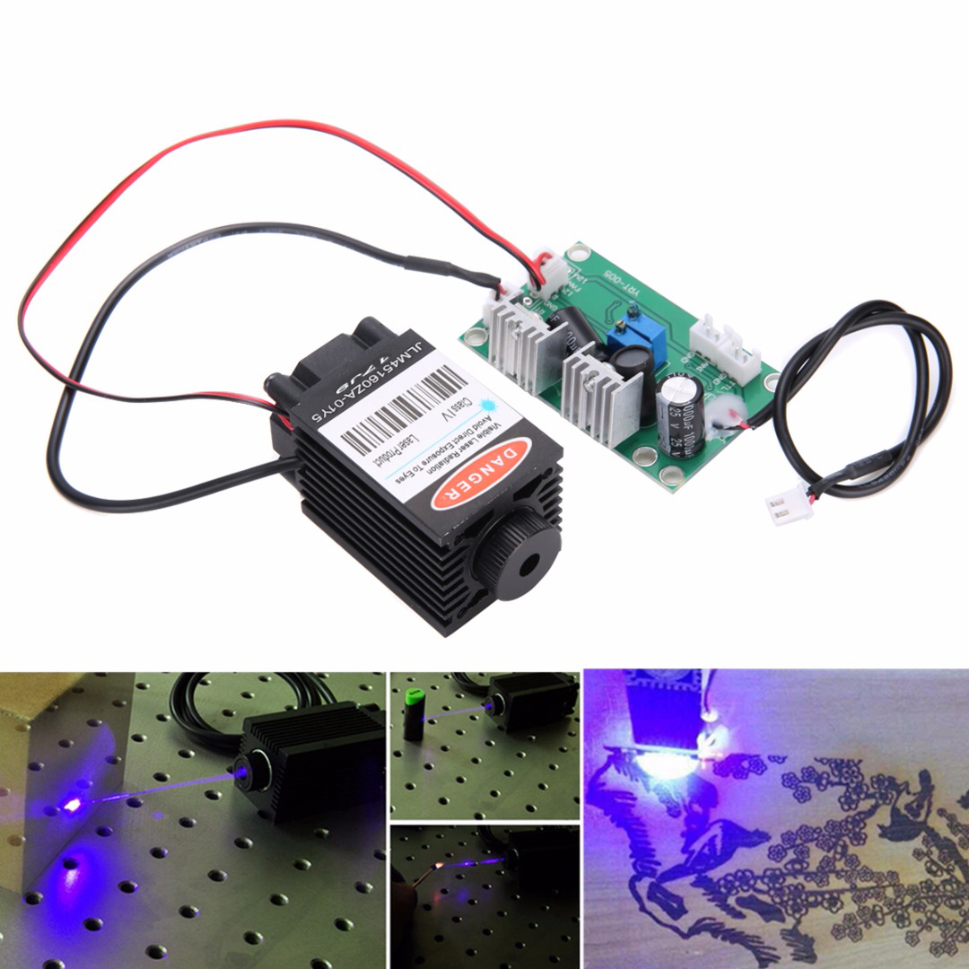 Focusable High Power Industrial Blue Laser Module 1.6W 450nm With TTL 12V Driver Board Wood Carving for CNC Machine laser module industrial laser head red laser spot heat dissipation can work for a long time