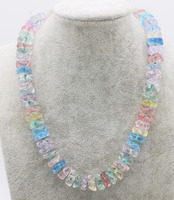 multicolor crystal roundel wave 14*6mm necklace 18inch wholesale nature beads FPPJ