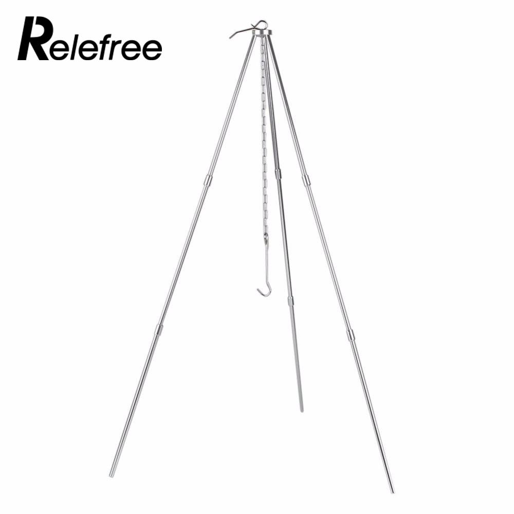 Relefree Portable Outdoor Camping Picnic BBQ Cooking Tripod Pot Hanging Grill Stand Holder