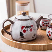 Japanese-style Ceramic Tea Set Cat Series Clay Teapot Tea Cup Hand-painted Colored Pottery Cat Mug for Tea Milk Pitcher