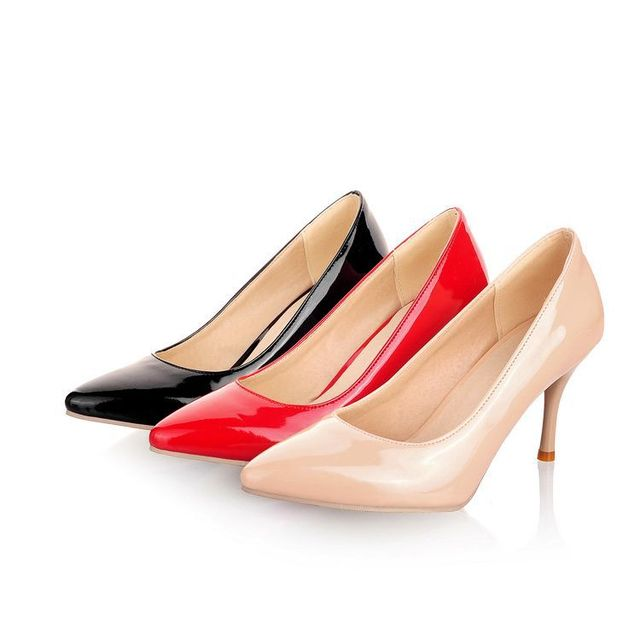 ded3a451ab34 plus size Eur 30-45 patent leather 2015 ladies shoes woman pointed toe women  shoes girls pumps female sexy high heels SD140338