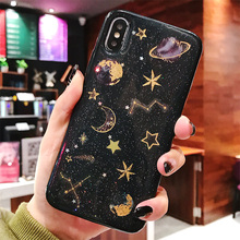 VZD Epoxy Phone Case For iPhone XS XR Max X 5 5S 6 6S 7 8 Plus Planet Star Transparent TPU Back Cover Cases New