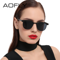 AOFLY Fashion Lady Sunglasses Metal Half Frame Sun glasses for Women Brand Designer Vintage Square Mirror Shades UV400 Gafas
