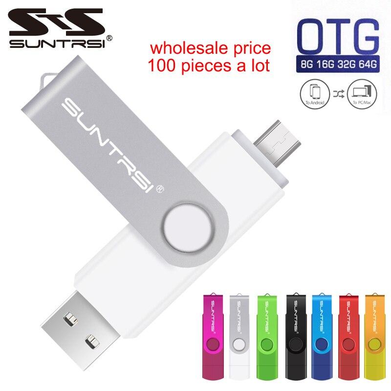 Suntrsi 100 Piece A Lot OTG Usb Flash Drive Wholesale Pendrive 4gb 8gb 16gb 32gb 64gb USB Stick For Smart Phone/Tablet/PC Metal