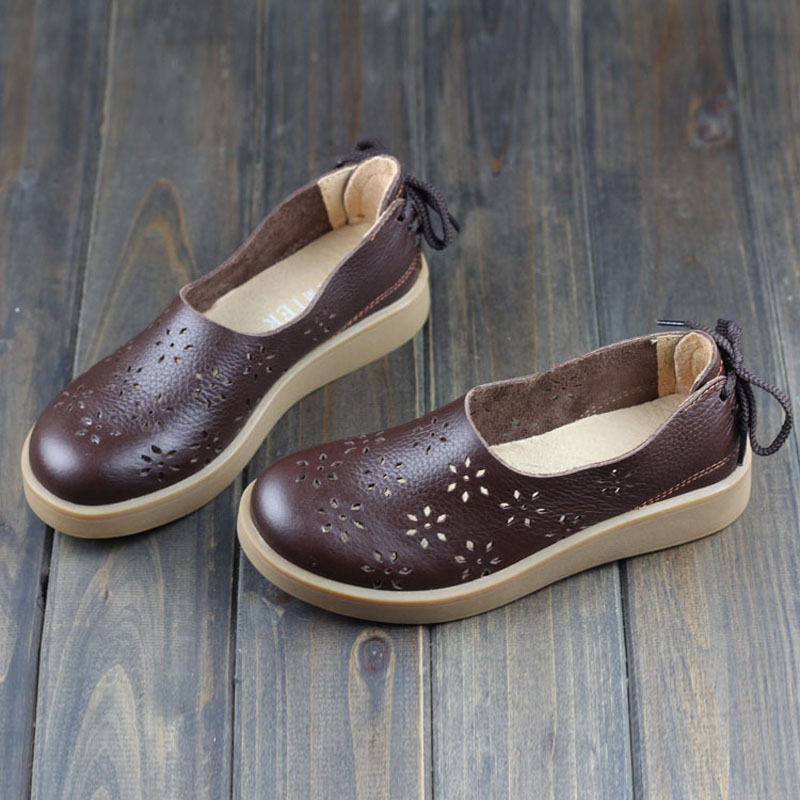 Women Shoes Flat Hollow Out Breathable Summer Shoes 100 Authentic Leather Round toe Slip On Flats