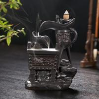 Chinese Ding Ancient Wine Glass Smoke Waterfall Backflow Incense Burner Literal Carving Retro Ceramic Censer Home PorcelainDecro