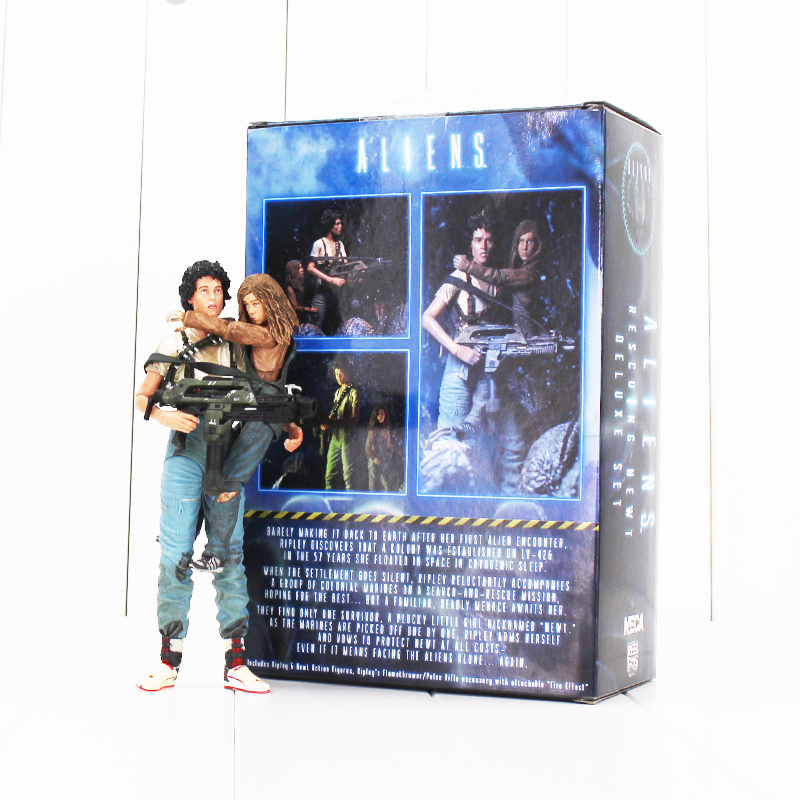 18cm NECA Alien 2 This Time It's War Ellen Ripley and Newt 30th Anniversary PVC Action Figure Toy Collectible Model Dolls neca alien lambert compression suit aliens defiance xenomorph warrior alien pvc action figure collectible model toy 18cm