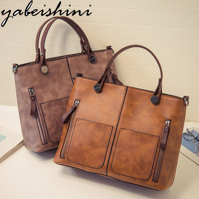 YABEISHINI New Brand Vintage Lady Handbag Designer Women Shoulder Bags Famous Double Pocket Bags Casual Tote Bags Sac a Main hot new black red women s bags famous brand handbag leather lady shoulder bags clutches diagonal mochila messenger casual tote