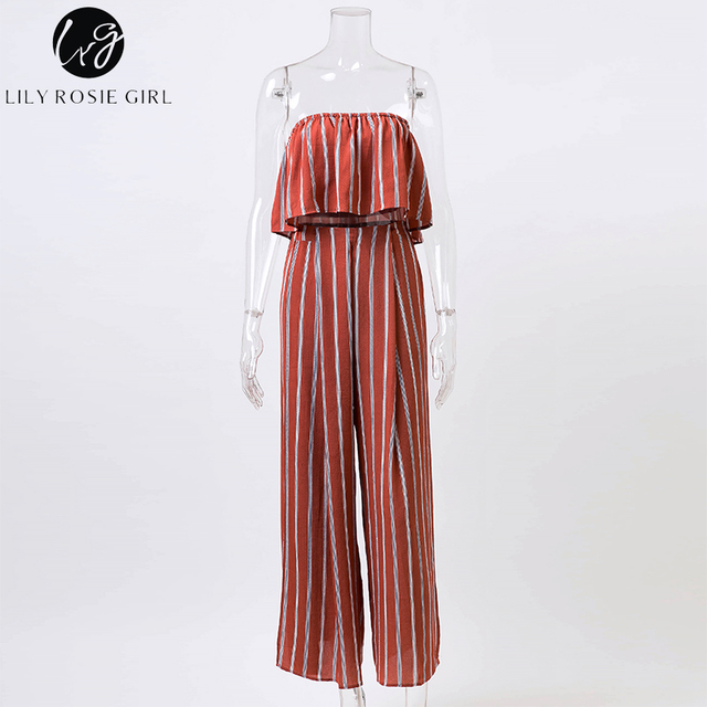 Lily Rosie Girl Sexy Off Shoulder Sexy Two Piece Jumpsuits Women Striped Summer Beach Split Long Rompers Jumpsuits Overalls