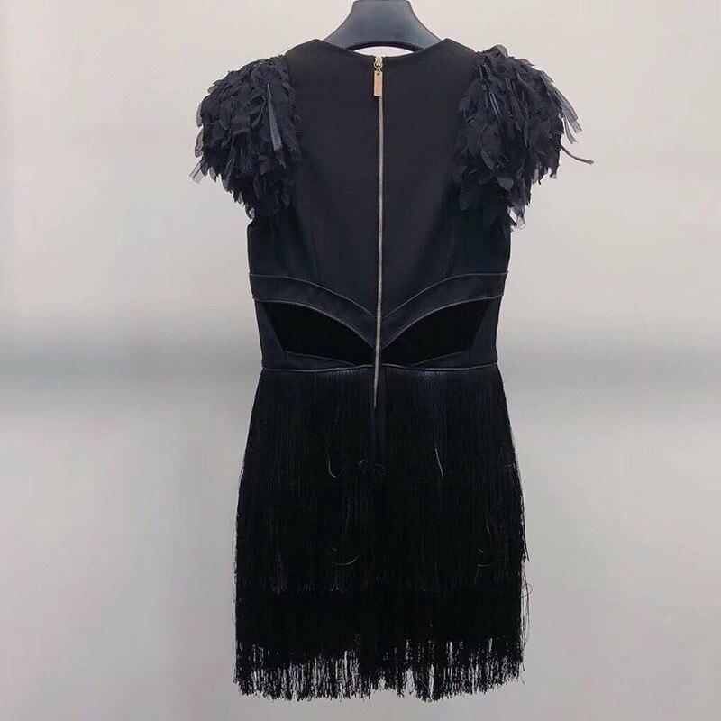 Twotwinstyle Black Cou Manches Partie Automne V Vêtements Mini Noir Mode De Dress Femelle Robe Robes Patchwork Gland Sans Femmes Sexy 2018 Hrq8Hw