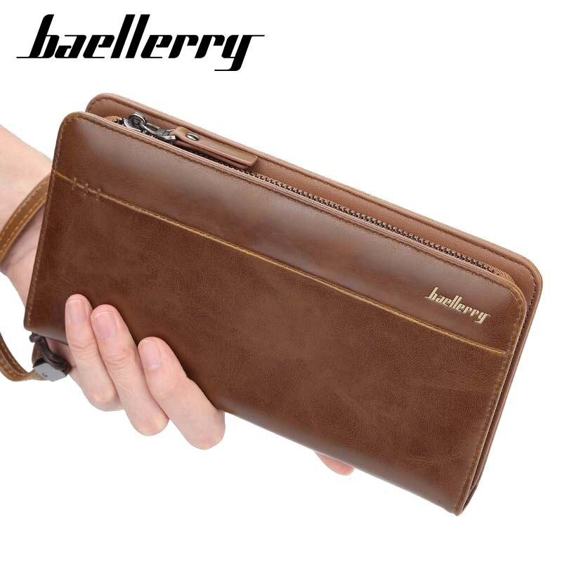 Baellerry Fashion Vintage Men Wallets Long Zipper Clutch Purse Casual Phone Wallet