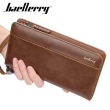 Baellerry Fashion Vintage Men Wallets Long Zipper Clutch Purse Casual Phone Wallet