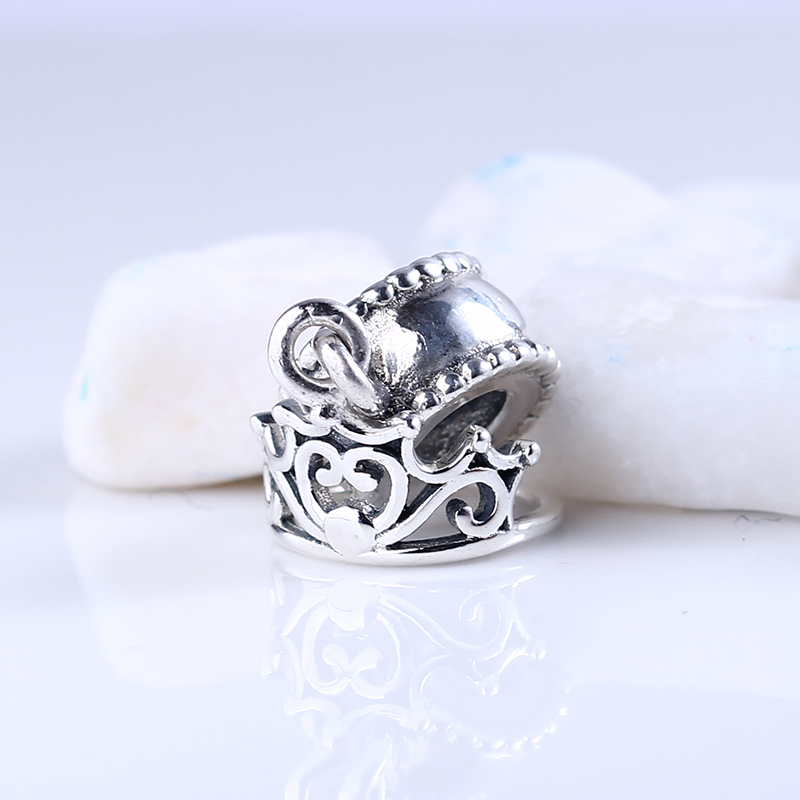 Authentic 100% 925 Sterling Silver Beads Cute Crown Pendant Beads Fit Pandora Charms Original Bracelet for Jewelry Making