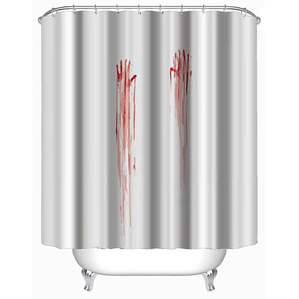 Halloween shower curtains target - Halloween Shower Curtain Hooks 3d 180 X180cm Halloween Blood Fingerprints Waterproof Shower Curtain Bathroom Products