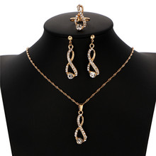 Fashion Pendant Necklaces Earrings Ring Gold Color Jewelry Set Model Eight Crystal Water Drop Jewelry Set Wedding Party