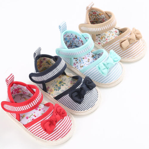 Infant Newborn Baby Boy Girl Kid Soft Sole Shoes Cute Bowknot Striped Canvas Prewalkers Sneaker Newborn 0-12Months