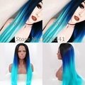 Fashion Dark Roots Blue Ombre Straight Synthetic Lace Front Wig Glueless Blue/Green Heat Resistant Wigs For Women Free Shipping