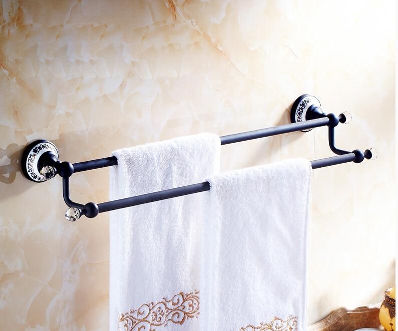 Oil Rubbed Bronze Bathroom Double Towel Bars Wall Mount Towel Rack Crystal  Deco