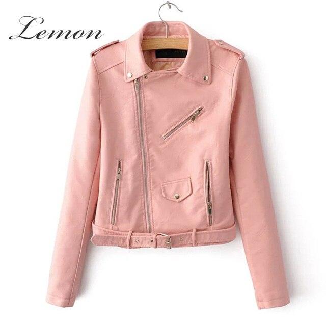 Lemon Autumn New Fashion Light Pink PU Short Biker Jacket Classic ...
