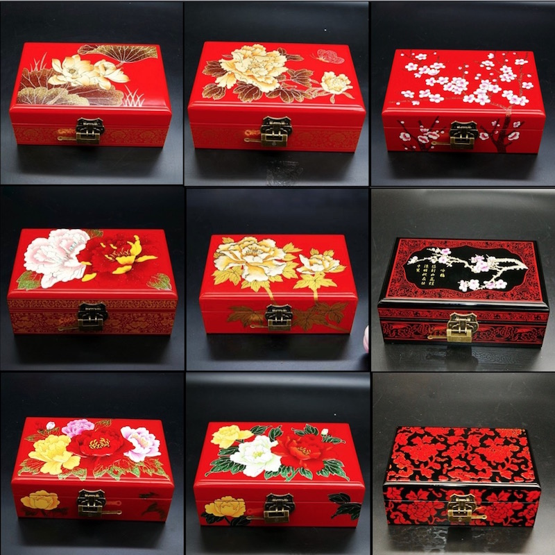 Jewelry Box Antique Storage Boxes Bins Chinese Lacquerware Lacquer Arts with Lock 21x14x8cm Red Wooden Rectangle