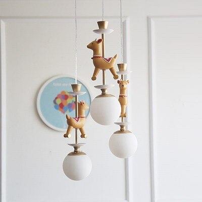 Bande dessinée créative carrousel suspension lampe garçons et filles chambre nordique Simple LED couleur Animal unique tête suspension lampe - 3
