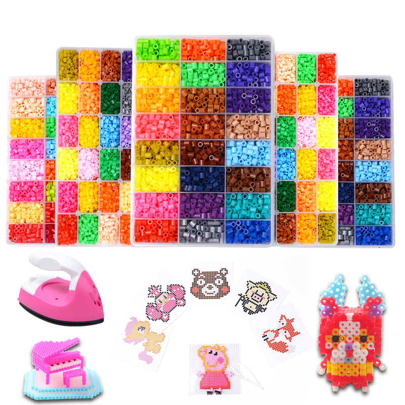 24 Perler Beads Kit 5mm  2 6mm Kit Hama Beads Creative 3D Puzzle Full Set with all accessories Ironing Handmade Beads Toy Gift