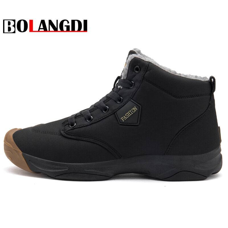 Bolangdi New Winter Men Women Running Boots Warm Plush Waterproof Sneakers Outdoor Unisex Sport Shoes Comfortable Running Shoes