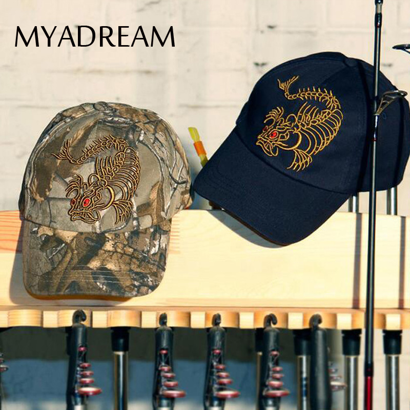MYADREAM Exaggerated Dragon Bone Embroidery Baseball Cap Gorras Cotton Hats for Men Women Outdoor Fishing Hunting Sport Caps men fish patern outdoor washed cotton baseball caps