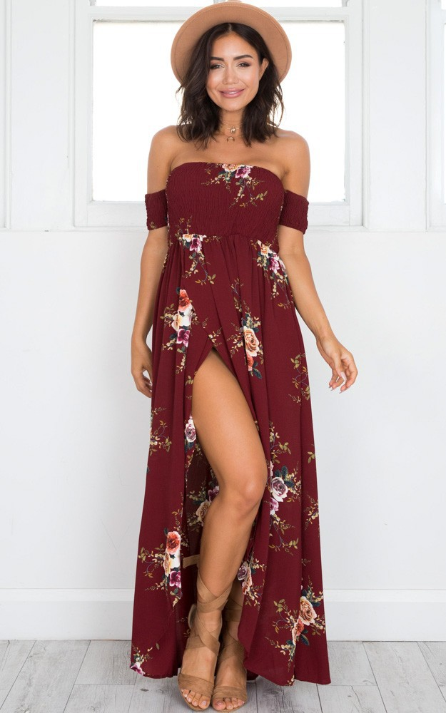 Style long dress women Off shoulder beach summer dresses Floral print Vintage Slash neck maxi dress vestidos de festa 1