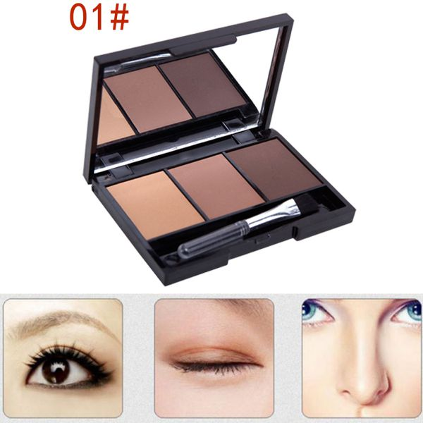 Hot Professional Kit 3 Color Eyebrow Powder Shadow Palette Enhancer with Ended Brushes 3