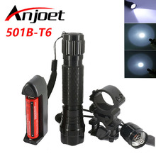 ANJOET Tactical Flashlight 501B T6 led torch 2000Lm Outdoor camping for Hunting +1*18650 battery+Remote Switch+Charger+Gun Mount 501b hunting flashlight xml t6 led torch light portable tactical flashlight camping torch mount remote switch 18650 battery