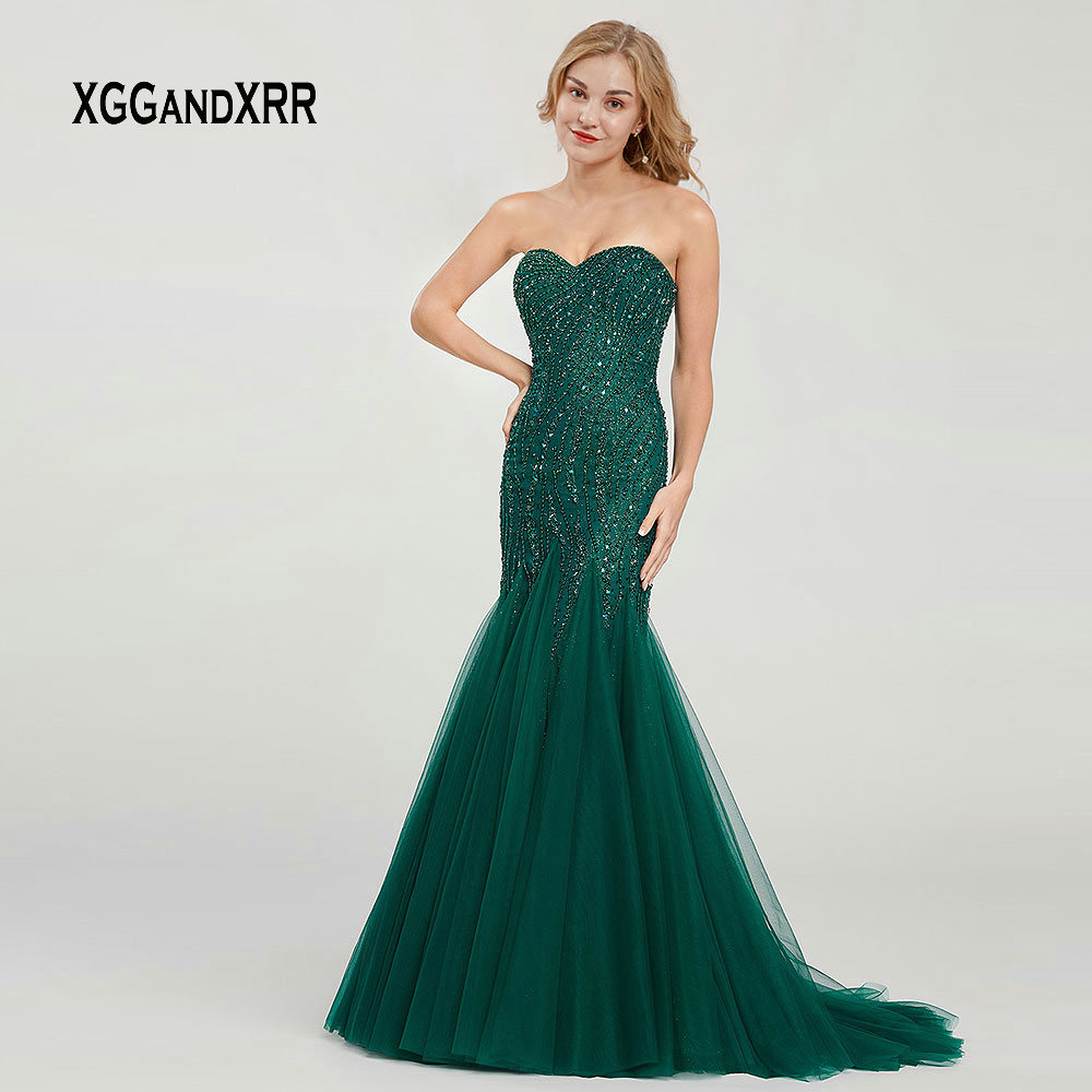 Dark Green Off Shoulder Mermaid   Evening     Dress   Long Prom   Dress   2019 Sexy Backless Beading Crystal Sweep Train Tulle Party Gown