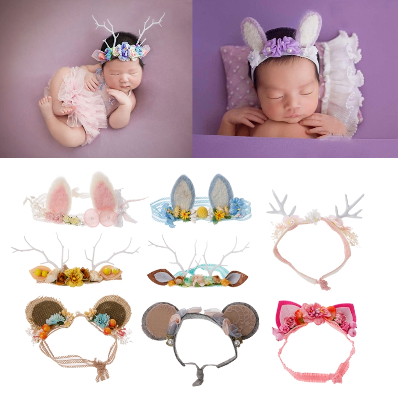 Newborn Baby Girls Photography Props Floral Ears Cute   Headwear   Studio Props Decoration