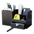 De madera de cuero de múltiples funciones del organizador de escritorio caja de almacenamiento caja de lápiz de la pluma titular de caso