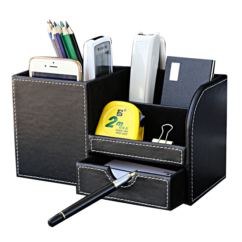 Wooden leather multi functional desk stationery organizer - Desk stationery organizer ...