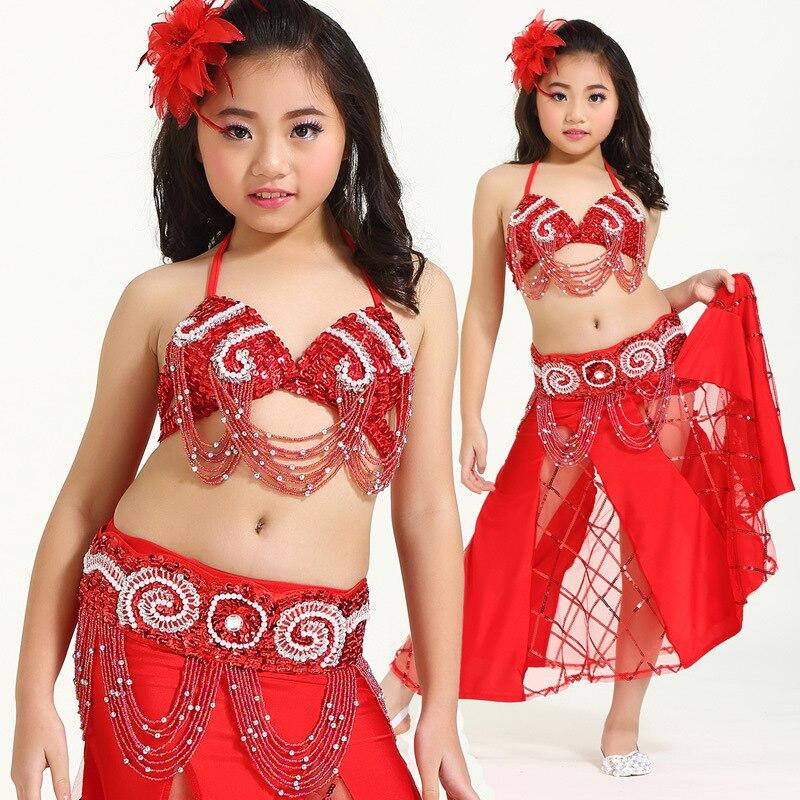 Danse du ventre costume vêtements vêtements enfants danse enfant bellydance enfants cadeau danse indienne 3 pièces soutien-gorge & ceinture & jupe Bollywood Costume