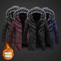 2018 Fashion Winter Jacket Men High Quality Fur Collar Hooded Long Coat Velvet Warm Parka Men Punk Style Hip Hop Jacket Trench