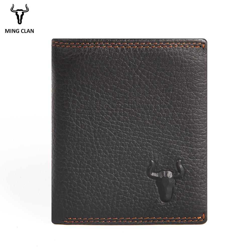 Mingclan Wallet Men 100% Genuine Leather Short Wallet Vintage Cow Leather Casual Men Wallet Purse Standard Holders Rfid Wallets wallet