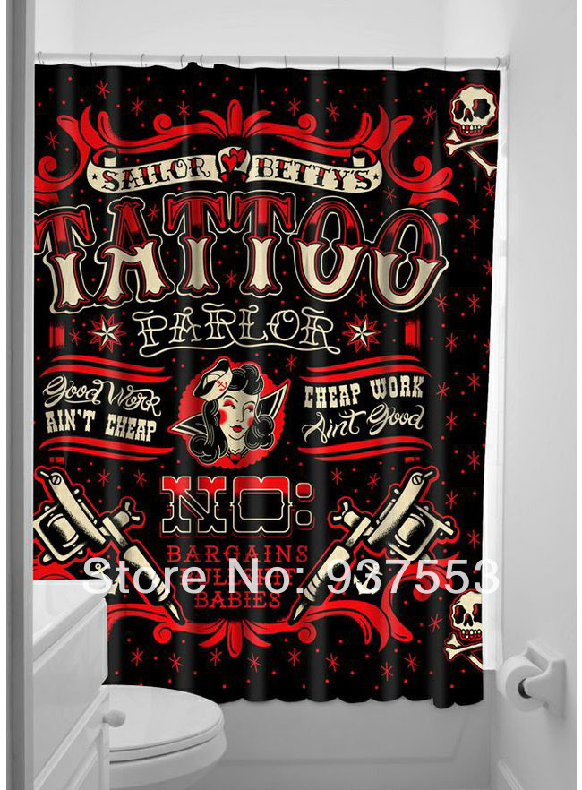 Vintage Punk Shower Curtain Rock Band Cool Sexy Tattoo Sailor
