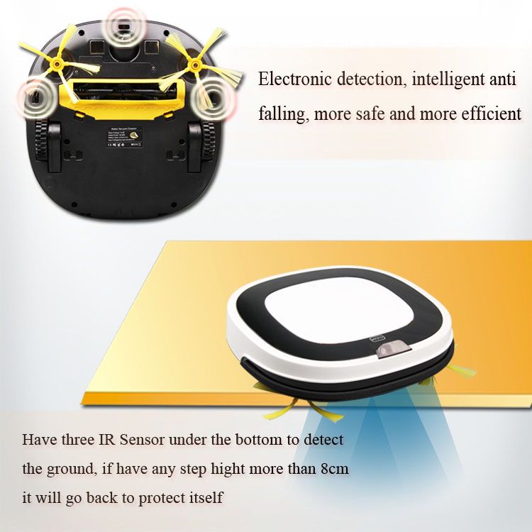 PAKWANG White Robot Vacuum Cleaner Wet And Dry D5501 With Remote Control,Intelligent Anti Fall Automatic Vacuum Cleaner Hot Sale