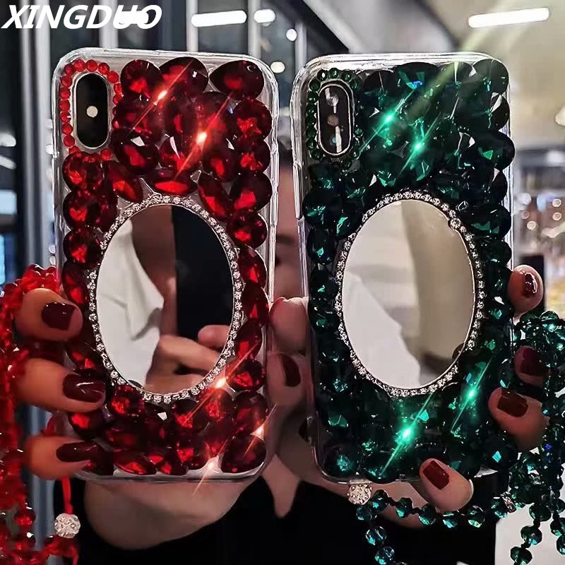 XINGDUO Glitter Super luxury Phone Cases For Samsung A7 A8 J8 2018  Bling Diamond Mirror Soft Shell TPU Case for S10 S8 S9 Note9