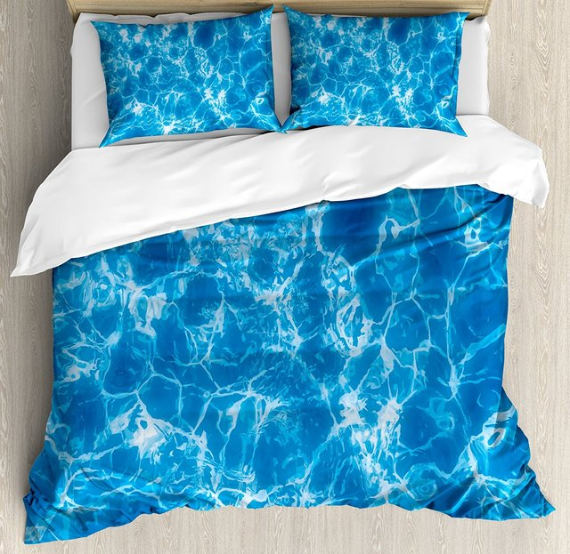 Aqua Duvet Cover Set Water Swimming Pool Surface With Sun Reflection Sea Ocean Inspired Image 4