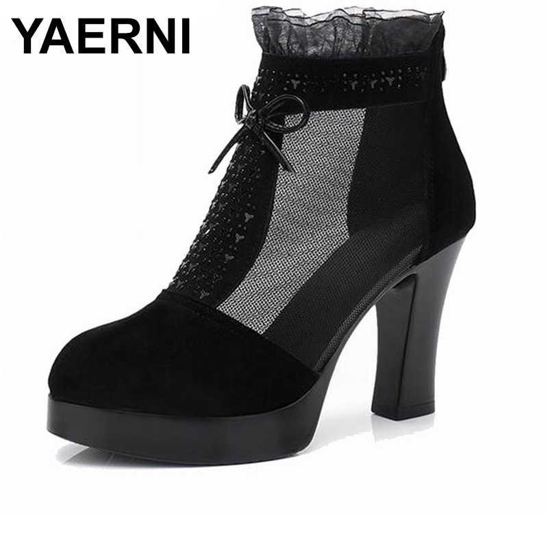 YAERNI hakiki deri yarım çizmeler güzel bahar içi boş örgü çizmeler yüksek topuklu kadın ayakkabı kadın moda yaz ayakkabı taklidi