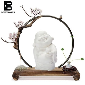 Vintage Ceramic Zen Buddha Figurines Wooden Base with Vase Aroma Backflow Incense Burner Censer Hotel Office Home Decor Ornament