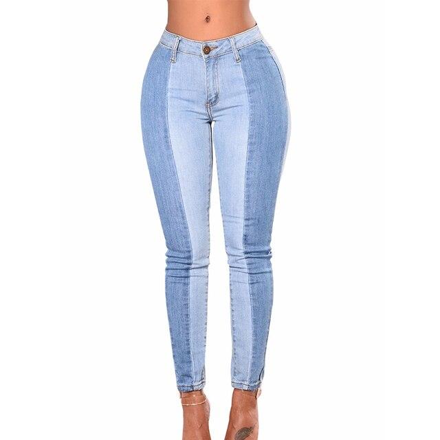 daa6caebaa Mulheres em Contrário Do Hight Jeans cintura Calça Jeans feminina 2018  Retalhos Do Vintage jeans skinny