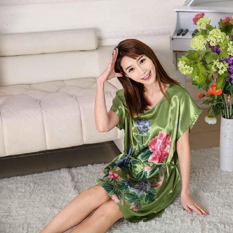 HOOYI 2018 Women Nightgown Summer Dress Floral Satin Sleepwear
