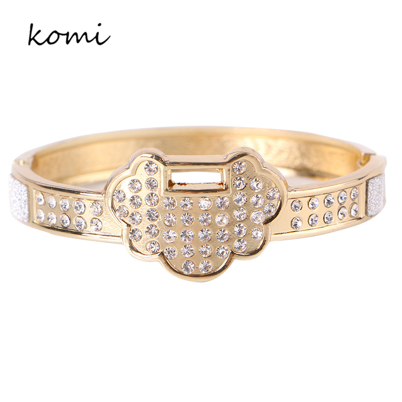 Hot Sale Fashion Womens Ladies Charms Gold Color Simulated Longevity Lock Crystal Cuff Bracelets Bangles Jewlery Gift B-058